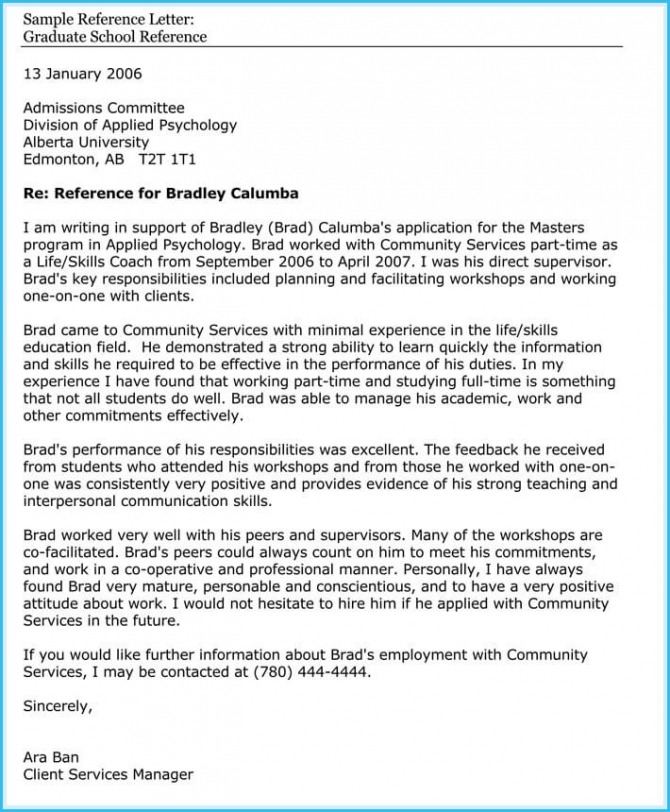 Academic  School Reference Letter Samples And Examples