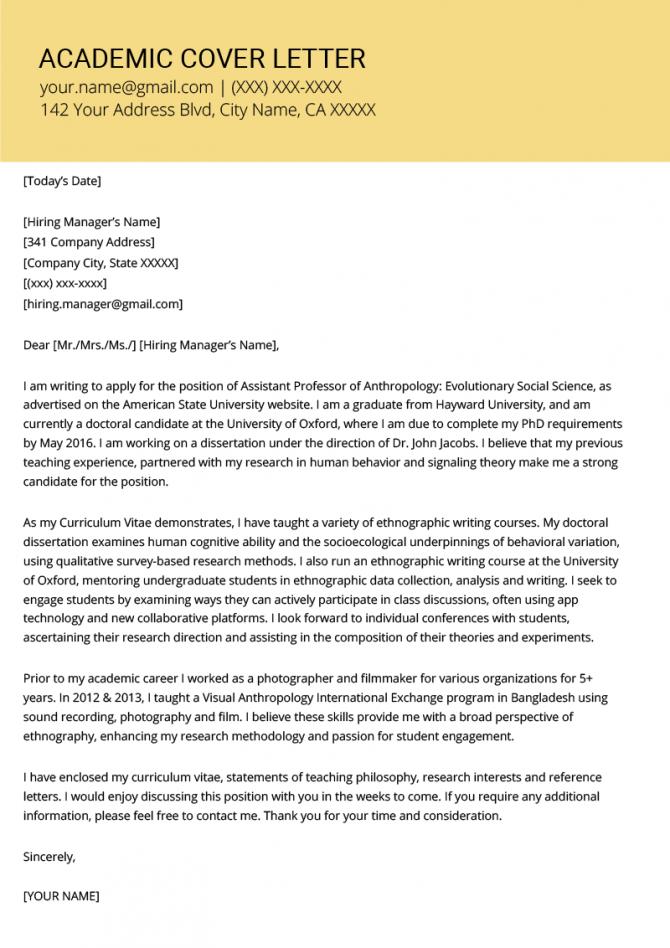 Academic Cover Letter Sample   Writing Tips