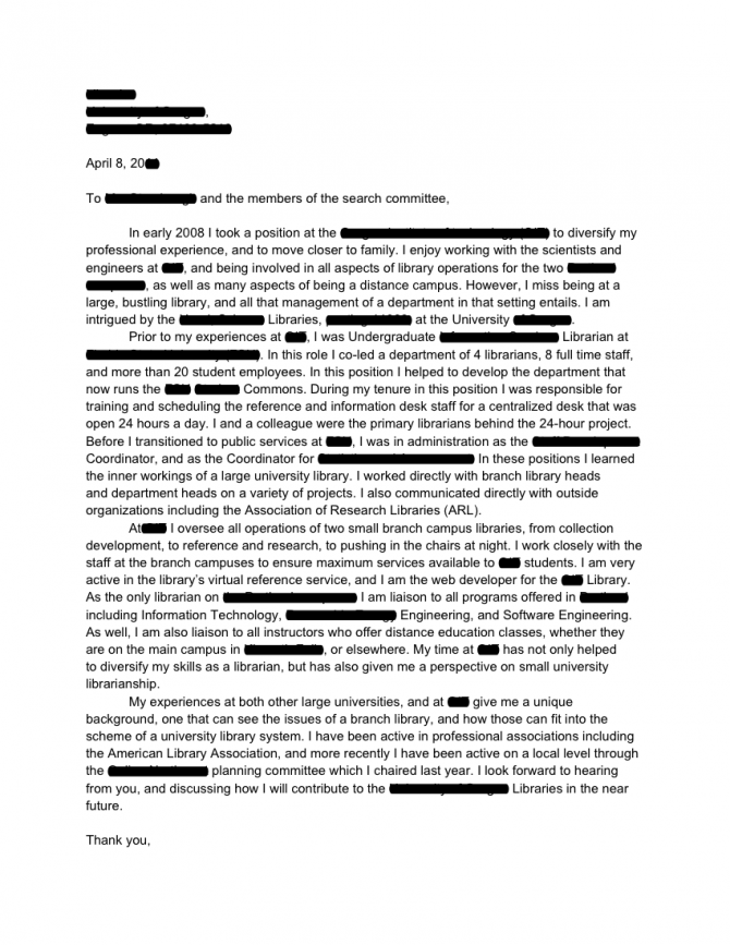 Academic Library Branch Manager Cover Letter