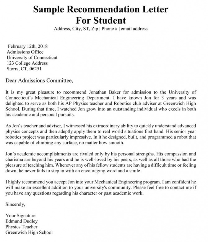 Academic Recommendation Letter  Sample Letters   Templates