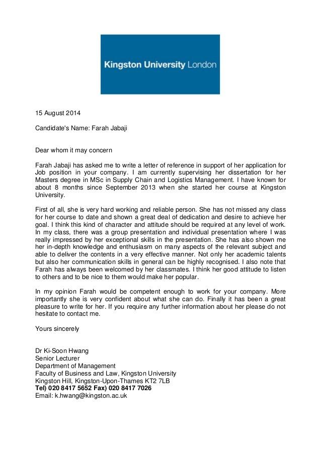 Academic Reference Letter Kingston University