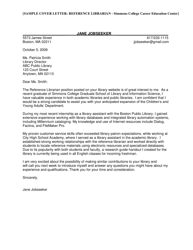 Academic Reference Letter Librarian