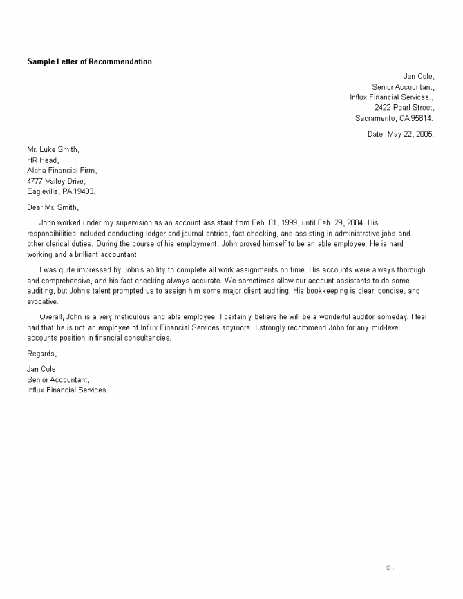 Accountant Job Reference Letter