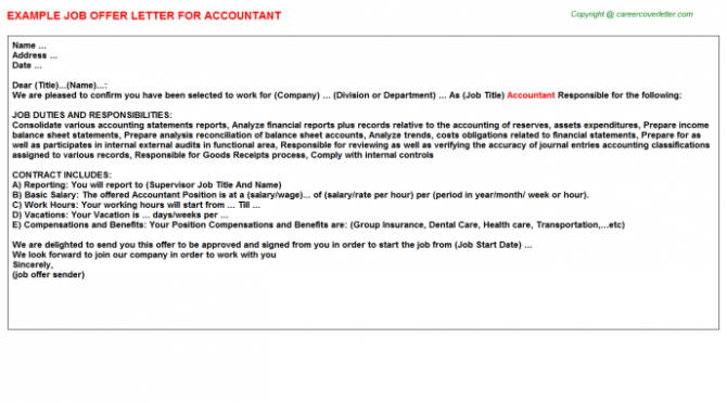 Accountant Offer Letter