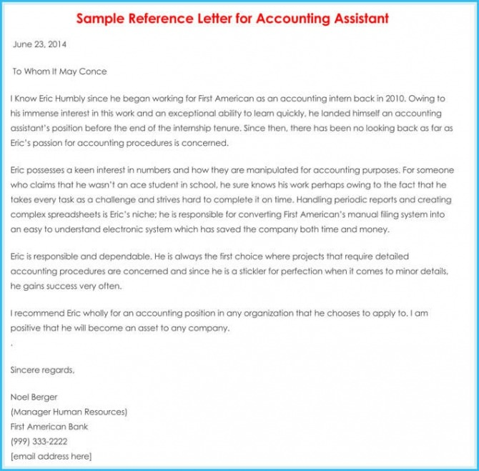 Accountant Reference  Recommendation Letters  Samples  Formats