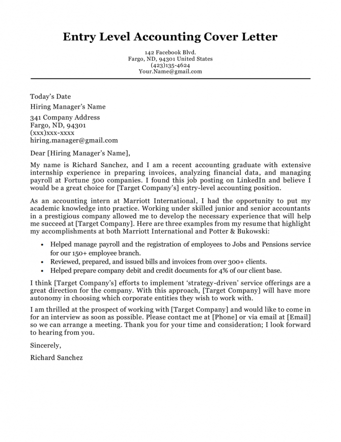 Accounting Cover Letter Sample   Writing Tips
