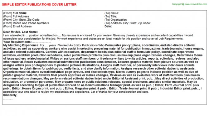 Acquisitions Editor Cover Letters