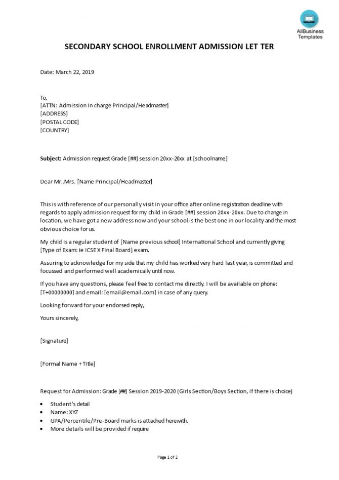Admission Request Undergraduate Letter