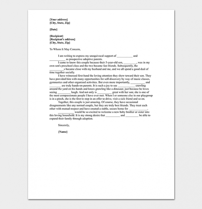 Adoption Reference Letter Format   Sample Letters Word  Pdf