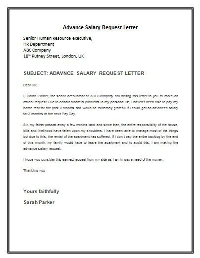 Advance Salary Request Letter Sample