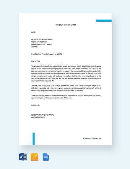 Affidavit Of Support Letter In