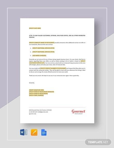 Announcement Letter