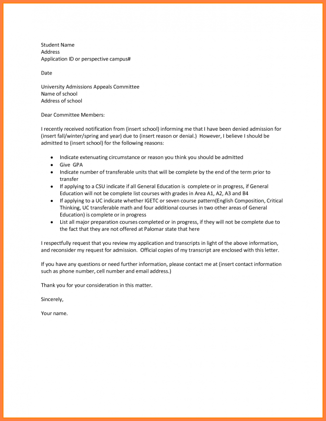 Appeal Letter For School Admission Sample How Write Lettereal
