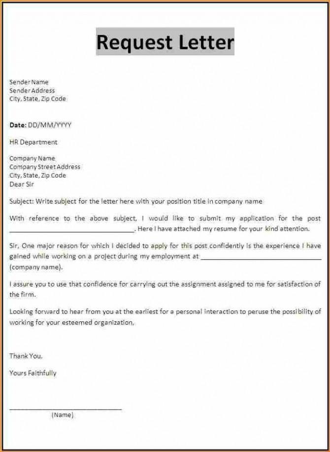 Application Form Letter Basic Job Appication Simple Leave Request
