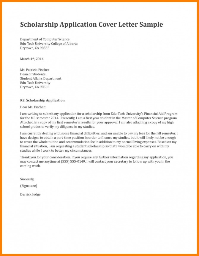Application Letter For Scholarship In College Cover Examples