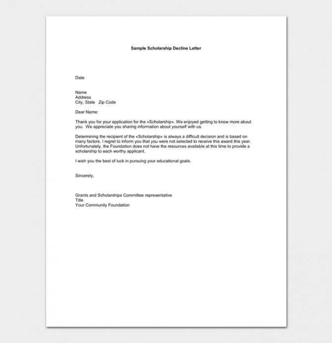 Polite Scholarship Rejection Letter