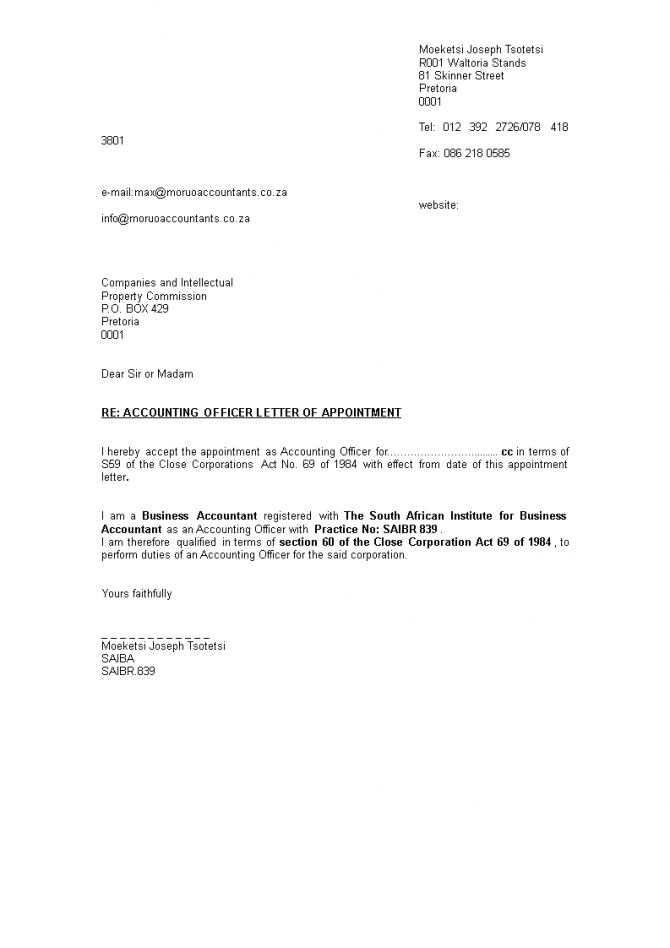Appointment Letter Format For Accountant In Word