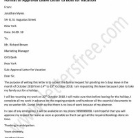 Vacation Letter To Employer