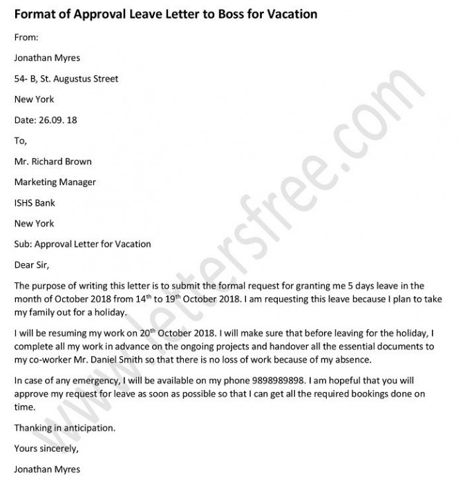 Approval Letter To Boss For Vacation Leave