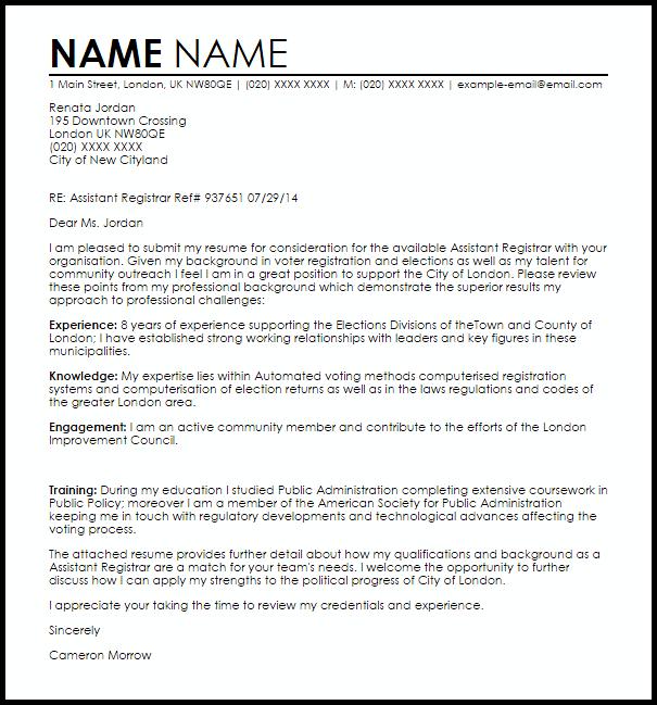 Assistant Registrar Cover Letter Sample