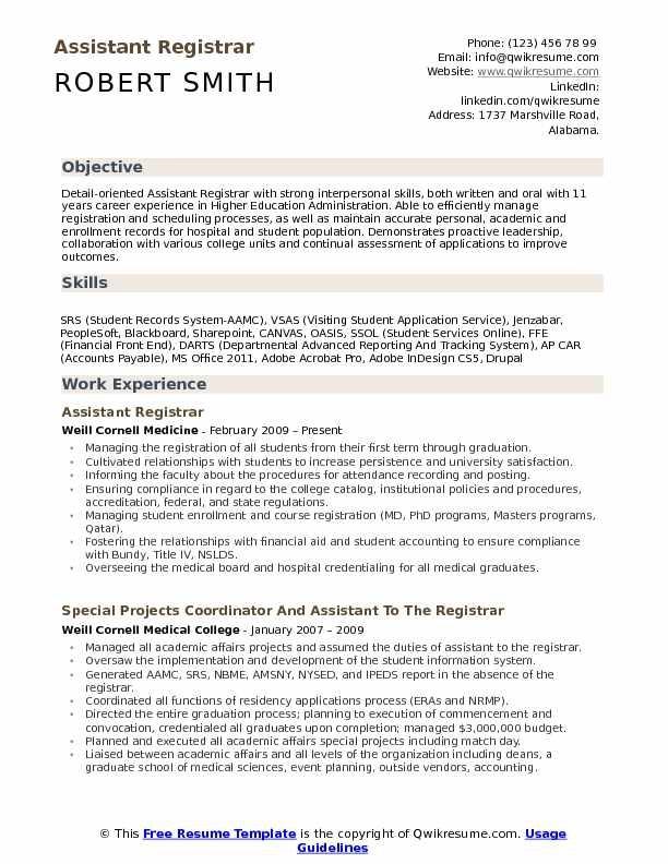 Assistant Registrar Resume Samples