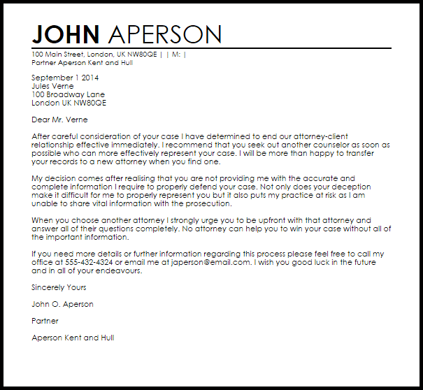 Attorney Client Termination Letter Example