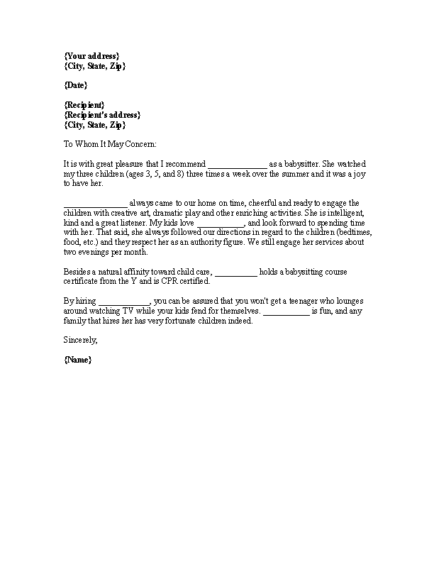Babysitter Reference Letter For Colleague