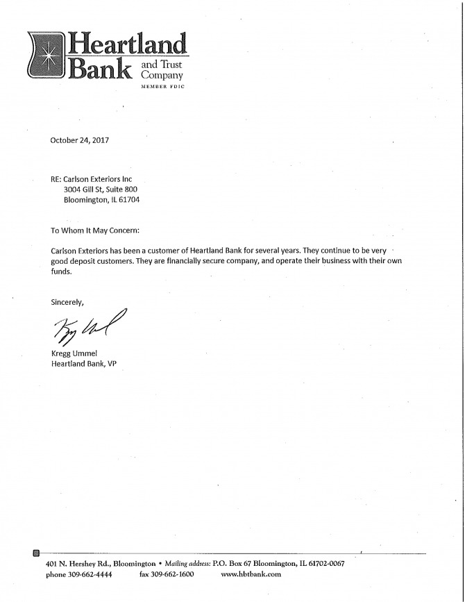 Bank Reference Letter For Carlson Exteriors