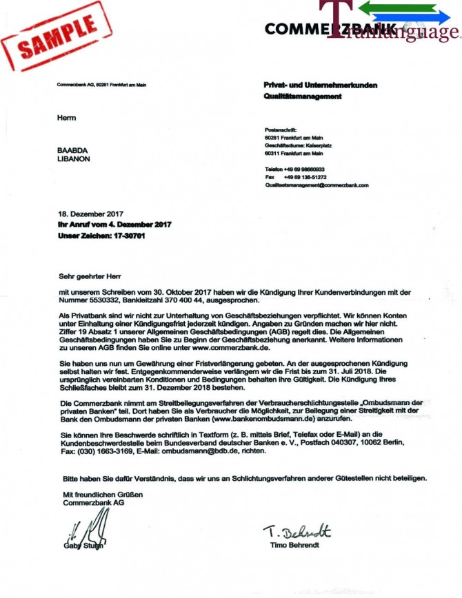Bank Reference Letter Germany