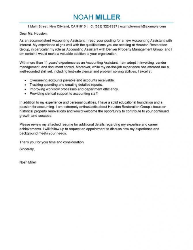 Best Accounting Assistant Cover Letter Examples