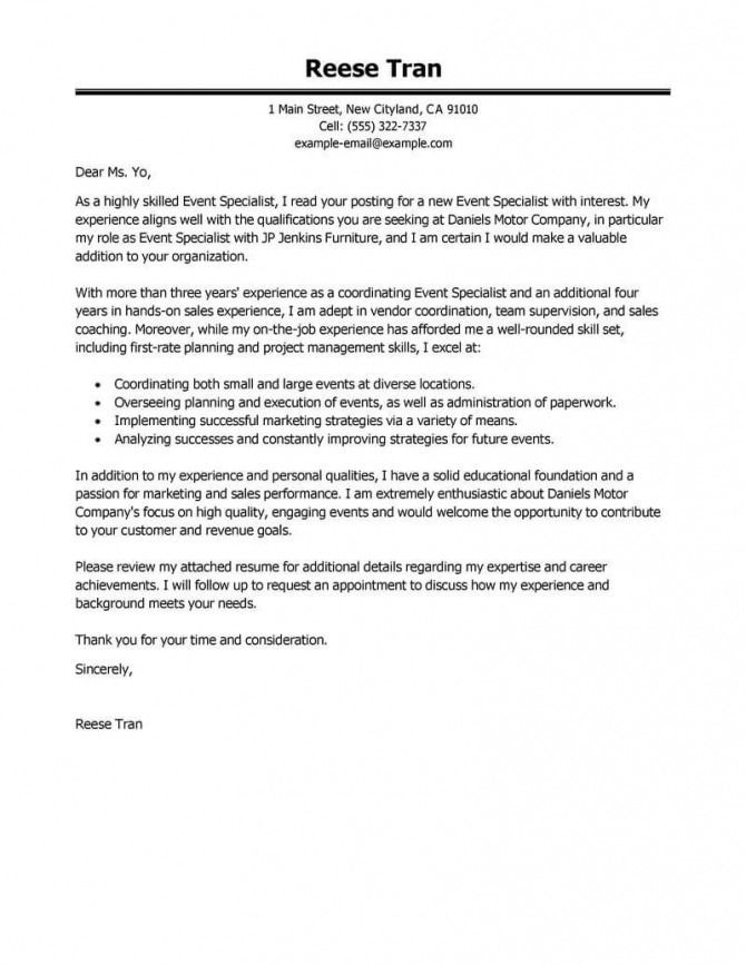 Best Event Specialist Cover Letter Examples