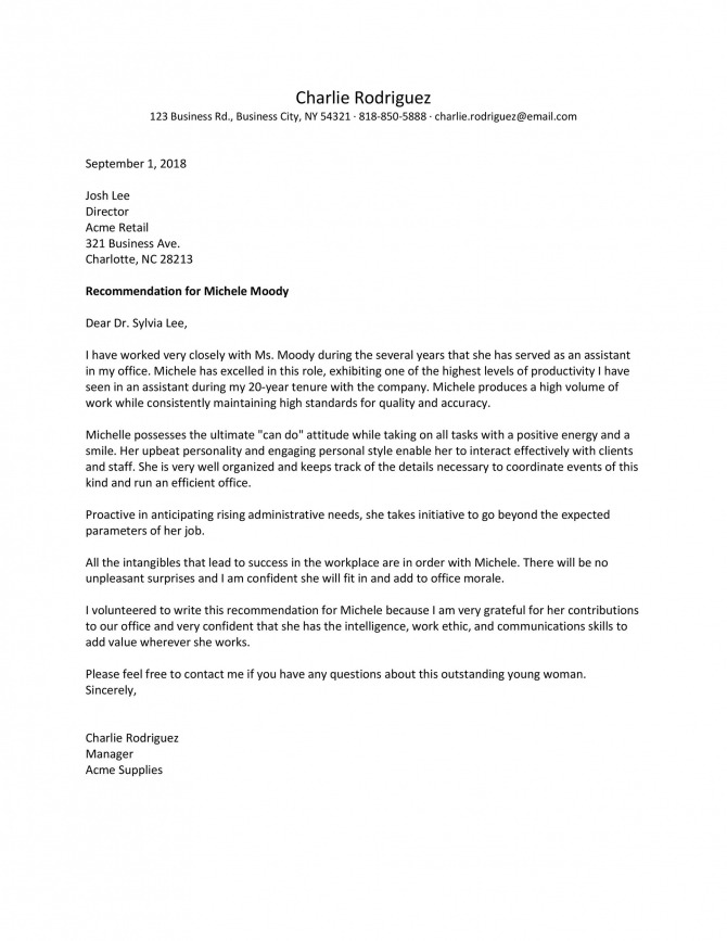 Best Recommendation Letters For Employee From Manager