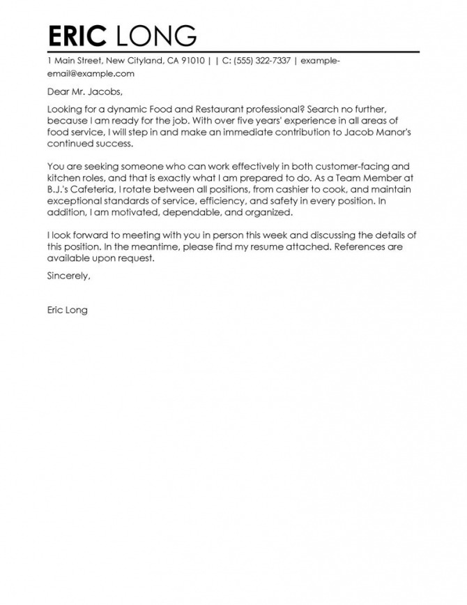 Best Restaurant Cover Letter Examples