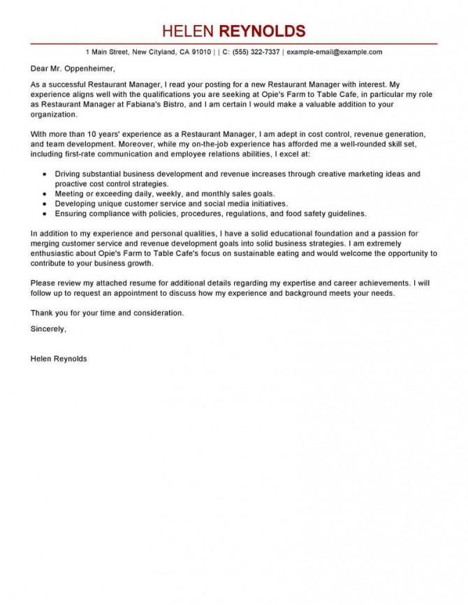 Best Restaurant Manager Cover Letter Examples