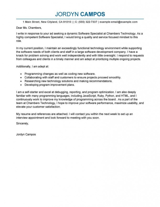 Best Software Specialist Cover Letter Examples