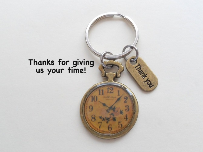 Bronze Clock  Volunteer Appreciation Gift  Thanks For Your Time