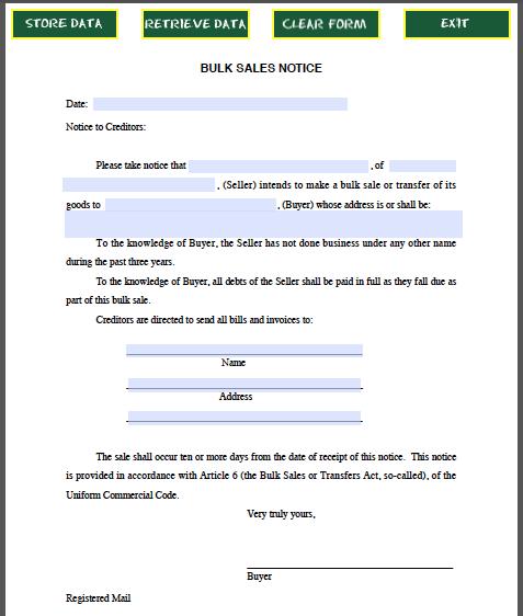 Bulk Sales Notice Sample