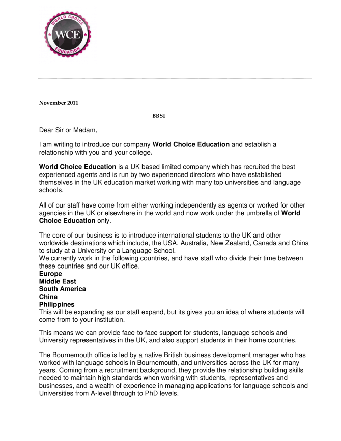 Business Introduction Proposal Letter