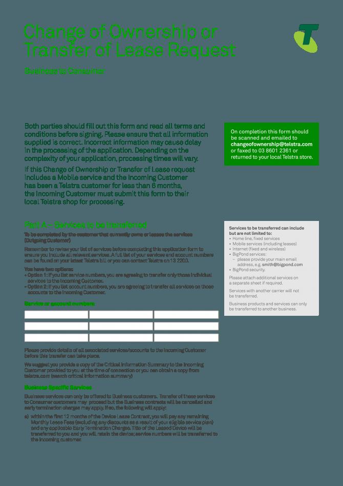 Business Lease Transfer Letter