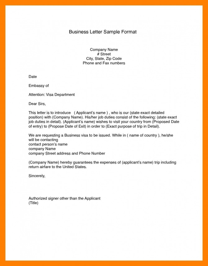 Business Letter Format Word  In