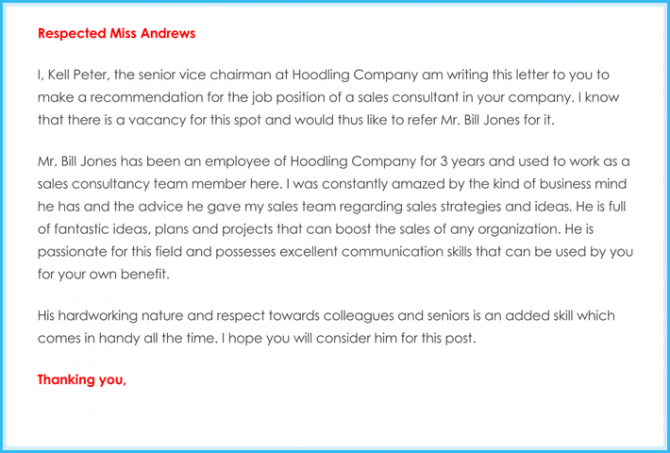 Business Recommendation Letter  Samples  Formats