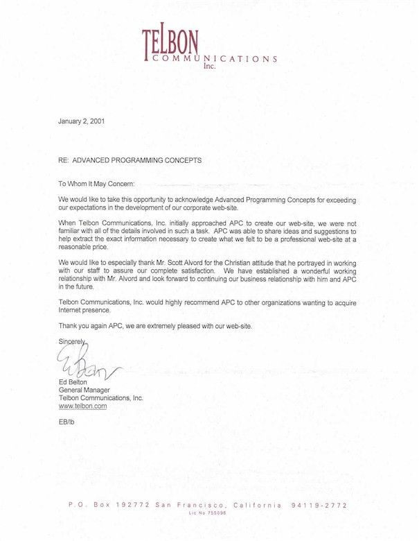 Business Recommendation Letter For A Company