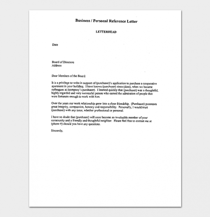 Business Reference Letter How To Write With Format And Samples