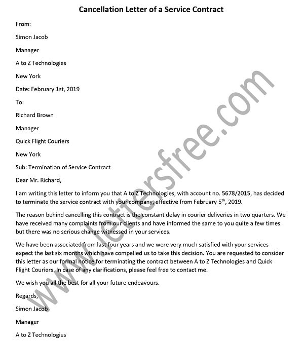 Termination Of Services Letter To Supplier