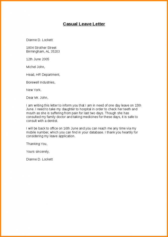 Casual Leave Application Form Letter Sick Format For Office