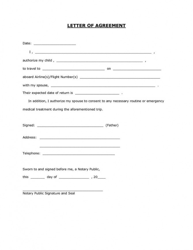 Child Travel Consent Form Word Doc Awesome Unique Notarized Letter