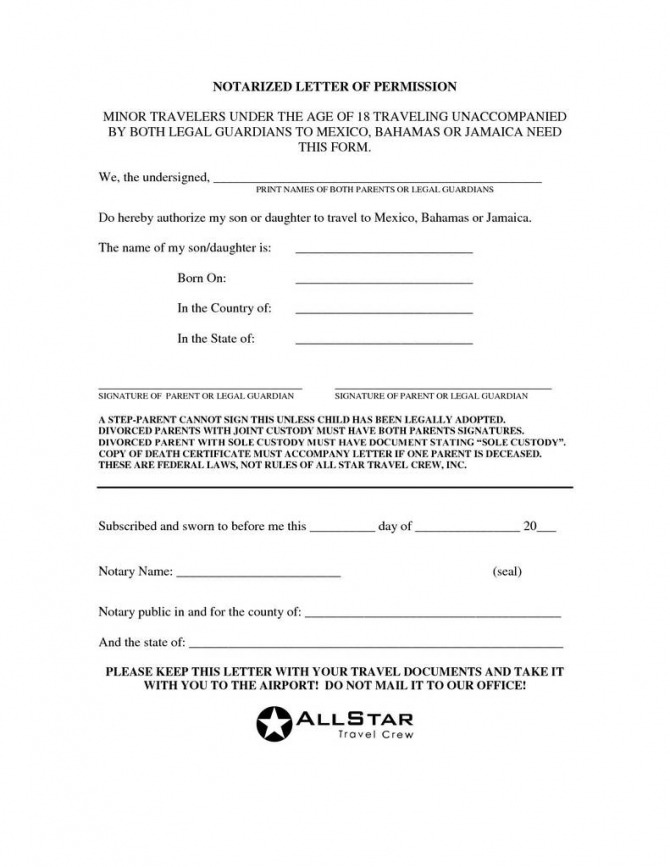 Child Travel Consent Form Word Doc Unique Notarized Letter