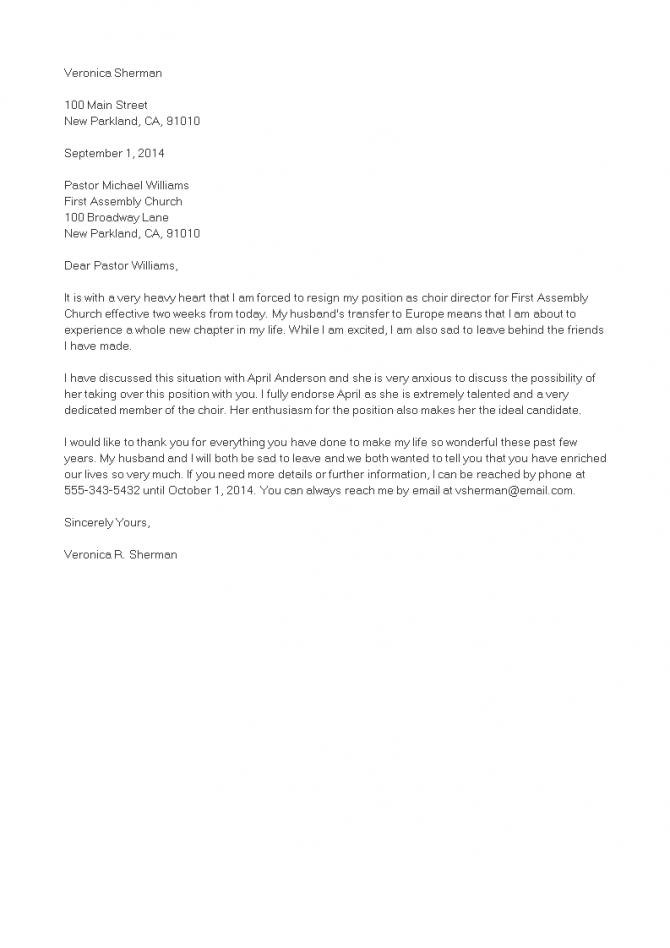 Church Volunteer Resignation Letter