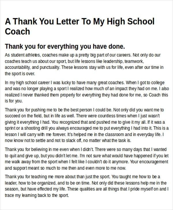 Coach Thank You Letter Letter Of Recommendation