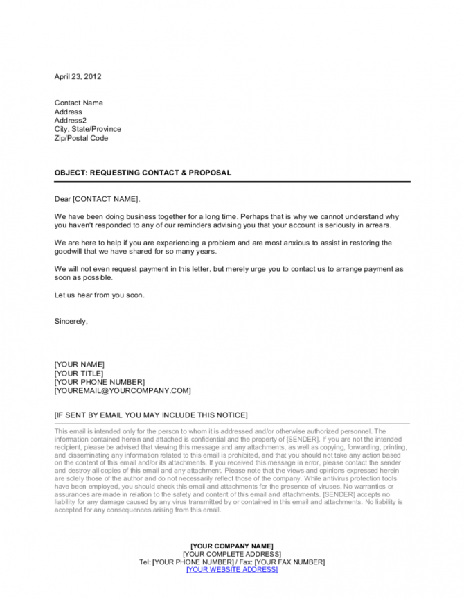 Collection Letter Requesting Contact And Proposal Template